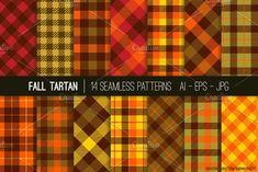 Vector Cozy Fall Tartan Patterns by SubwayParty on @creativemarket