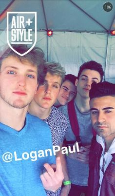 From Left to Right: Logan Paul   Jake Paul   Ethan Dolan   Grayson Dolan  Dunno Who's the Last.