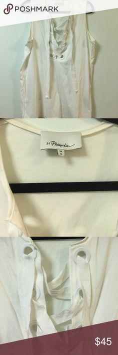 3.1 Phillip Lim tank with ribbon detail 3.1 Phillip Lim tank in white cotton. Ribbon lacing on the front. There is wear and markings around the neckline. 3.1 Phillip Lim Tops Tank Tops