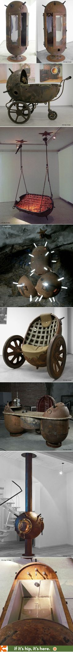 Furniture and home furnishings made from old mine shells. Wow.