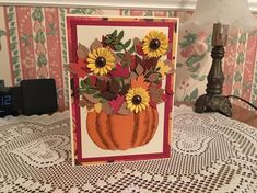 Diy Thanksgiving Cards, Holiday Cards, Thanksgiving Decorations, Happy Thanksgiving, Sympathy Cards, Greeting Cards, 3d Birthday Card, Get Well Cards, Sunflower Cards