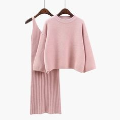 2019 Autumn Women Sweater Straped Dress Sets Solid Color Casual Two-Pieces Suits Loose Sweater Knit Mini Dress Vestidos Khaki On Knit Sweater Dress, Loose Sweater, Sweater Set, Sweater Outfits, Wool Dress, Dress Outfits, Lace Dress, Tienda Fashion, Suits For Women