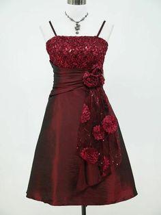 Cherlone Satin Burgundy Prom Ball Party Cocktail Evening Bridesmaid Dress 14-16