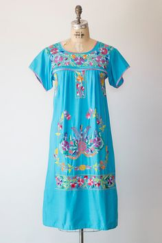 SAN ONOFRE dress 1970s turquoise boho mexican by GoldBanana