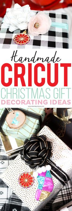 Use these Handmade Cricut Christmas Gift Decorating Ideas to wrap a perfectly beautiful present! Less expensive than store-bought bows and cuter, too! Cricut Tutorials, Cricut Ideas, Cricut Craft, Cricut Vinyl, Design Tutorials, Design Ideas, Christmas Gift Wrapping, Christmas Crafts, Christmas Ideas