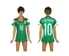 Messico Maglie Calcio Mondiali 2014 Donna Casa NO.10 G.dos Santos