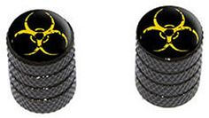 "(2 Count) Cool and Custom ""Diamond Etching Biohazard Symbol Top with Easy Grip Texture"" Tire Wheel Rim Air Valve Stem Dust Cap Seal Made of Genuine Anodized Aluminum Metal {Black and Yellow Colors} mySimple Products http://www.amazon.com/dp/B013TY7RUE/ref=cm_sw_r_pi_dp_W0fIwb1JNFW2F"