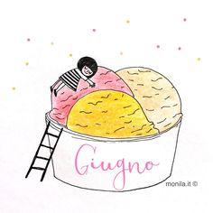 Monila handmade,june,giugno,illustrazione,illustration,gelato,ice cream