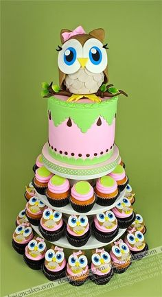 I think i might do this for my cousins Baby Shower. Cake and Cupcakes!