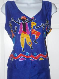 Women's Funky Caribbean 2 Piece Colorful Size Medium Going