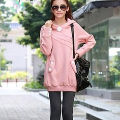 Women's Pure Color Long Thick Warm Autumn And Winter's Hoodie – USD $ 20.99