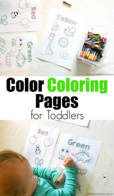 Easy Color Coloring Pages For Toddlers. Color everything green on the green page, yellow on the yellow page, etc.
