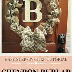 Easy step-by-step tutorial to make a beautiful burlap wreath with a chevron ribbon accent. Easily change out the colors or add faux flowers to make a wreath for every season and occasion! #burlap #chevron #burlapwreath #fallwreath Chevron Burlap Wreaths, Chevron Ribbon, Valentine Day Wreaths, Christmas Wreaths, Burlap Christmas, Country Christmas, Christmas Christmas, Wooden Box Centerpiece, Burlap Wreath Tutorial
