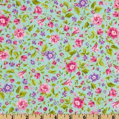 Spring Flowers Aqua - Discount Designer Fabric - Fabric.com  $6.98