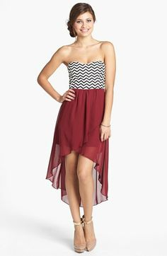 I could never wear this but it's gorgeous!  Trixxi Chevron Bodice High/Low Dress (Juniors) (Online Only) available at #Nordstrom