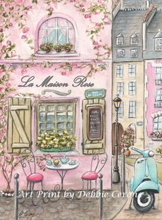 Pink Paris print is a whimsical watercolor, inspired by the famous La Maison Rose in Montmarte Paris! This print can be personalized with girl's name and can be purchased as a set of 4 'Vespa's in Paris', by Debbie Cerone.