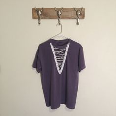 Custom Made Lace Up Tee New reworked tee Oversized fit Fits like an oversized medium Feel free to ask me any questions Thanks for browsing my closet! Happy Poshing Tops Tees - Short Sleeve