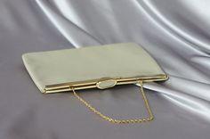 Aufklappbare Geldbörse, Schlag-Verschluss-Tasche, Bräune Kupplung, Handtasche 60er, Zustand-Tasche, Vintage Geldbörse zu prägen.