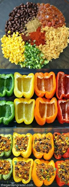 Poivrons farcis au quinoa à la mexicaine (en anglais) Super easy and SO GOOD! Flavorful fiesta quinoa is stuffed into these pretty pepper packages for an awesome weeknight meal. Love to top it with some guac! Vegetarian Recipes Dinner, Mexican Food Recipes, Whole Food Recipes, Vegetarian Pizza, Vegetarian Mexican, Easy Vegan Meals, Vegan Weeknight Meals, Easy Vegan Dinner, Vegetarian Appetizers