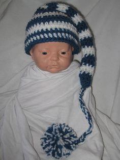 Free Crochet Long Tail Pixie Hat for a newborn Pattern.