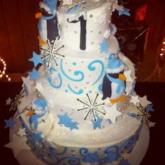 Beautiful winter ONEderland cake made by Masterpieces of old town in wheeling, wv :)