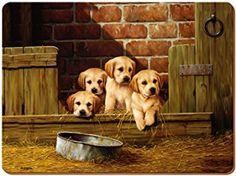 Creative Tops Labrador Pups Premium, reverso de corcho, manteles individuales, madera/MDF, marrón, juego de 6