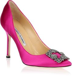 Bridal Shoes - Pop of color with these Hot pink Manolos