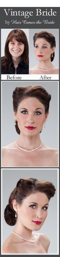 Vintage Updo. - Before and After Bridal Hair and Makeup by Hair Comes the Bride. *This site has NUMEROUS styles, era's & occasions to choose from.