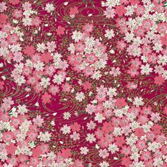 This pattern of Japanese Chiyogami Paper represents a flower bed of fuchsia blooms. Traditional Japanese Yuzen Paper is hand silkscreened