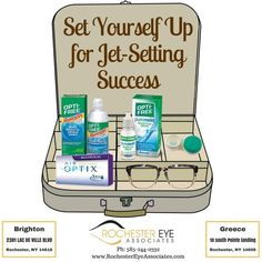 Traveling with contacts can be tricky; set yourself up for success by packing these essential items:  1) Contact lens solution 2) Contact lens case 3) Contact lens re-wetting drops 4) Extra pair of contacts  5) Your glasses  #JetSet #LikeAVet #Success #Travel #RochesterEyeAssociates #RochesterEyeWear
