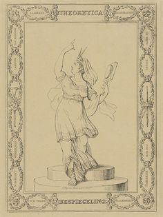 Johannes Jelgerhuis | Vrouwelijke personificatie van Theoretica / Bespiegeling, Johannes Jelgerhuis, 1785 - 1836 | Vrouwelijke personificatie van Theoretica of Bespiegeling, in Griekse gewaad. Zij staat op een ronde verhoging en wijst met haar rechterhand omhoog. In haar linkerhand houdt ze een vergrootglas en op haar hoofd draagt ze een sluier, bekroond met een passer. In het kader om de voorstelling staan kunstenaarsnamen in kransen.