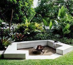 Firepit from our New Farm project, surrounded by lush planting, the perfect spot… - tropical garden ideas Design Patio, Garden Design, Tropical Garden, Tropical Plants, Lush Garden, Tropical Fire Pits, Sunken Fire Pits, Fire Pit Decor, Fire Pit Lighting