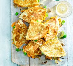 Pack tortillas with fried banana shallots, sweet potato, broad beans and cheese, then toast for crisp golden brown quesadillas - ideal for lunch or supper