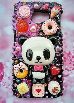 Samsung Galaxy phone case ALL models with Panda sweet dessert decoden n blings