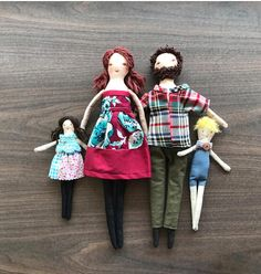 The family dolls are dress-up cloth dolls made for active, quiet and imaginative play for children of all age. Made in a pet free, smoke free environment, she is approximately 13 inches (33cm) tall. The clothes are closed with Velcro making them easy to put on and take off. . Their bodies may be cleaned with a damp cloth. Gentle play is recommended. The clothes are made with new ,vintage and recycled fabric. The family comes with the following Mommy doll with cotton dress Daddy doll with ...