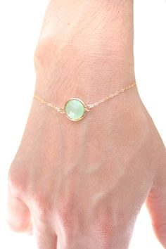 Light Mint / Gold Round Bracelet