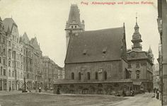 The Old New Synagogue and Jewish town hall in Prague - postcard, circa 1900s