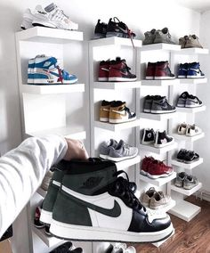Does your collection compete? 💯💯💯 Does your collection compete? Shoe Wall, Shoe Room, Shoe Closet, Sneaker Storage, Shoe Storage, Storage Ideas, Hypebeast Room, Shoe Display, Hype Shoes