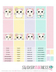 Free Printable Happy Hamster Planner Stickers from StickerCuteness