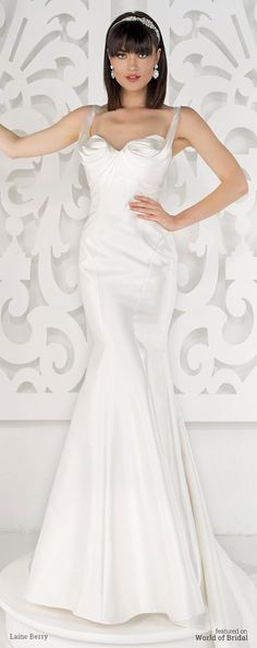 Mermaid Wedding Dresses : Sleeveless faille mermaid gown with notched square neckline sculpturally gather