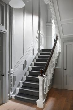 Townhouse Interior, Georgian Townhouse, Townhouse Designs, House Staircase, Staircase Design, Rochester Homes, Hall Colour, Stairwell Wall, Grey Hallway