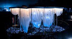abin design studio creates pavilion of canopies for festival in india