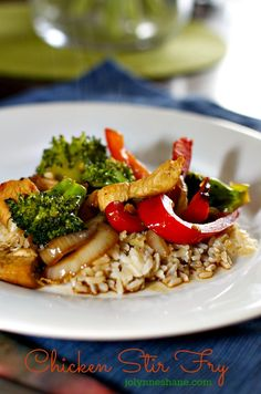 Asian Chicken Stir Fry... This simple stir fry recipe is one I've been using for many years, and it's one of my kids' favorites. You can pretty much use any veggies you like, but we typically go for broccoli, onion and red peppers. Sometimes I throw in some asparagus too. I make it in a stovetop wok.