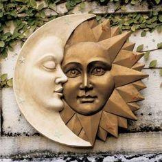 "CELESTIAL HARMONY WALL SCULPTURE STATUE SUN & MOON 16"""