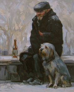 Volkov, Sergei (b,1957)- Cold Old Man w Dog (& Drink) -2a