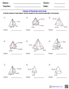 Prisms, Pyramids, Cylinders & Cones Volume Worksheets   Math-Aids ...