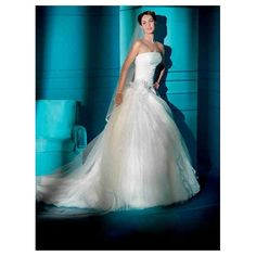 Organza and tulle strapless with pleated bodice ball gown skirt with flower in chapel train new hot wedding dress WD-117 - Wedding Gowns & Dresses - Wedding Dresses Online Shop [#10699] - $203.50