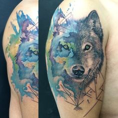 #watercolor #watercolortattoo #realistic #wolf #geometric...