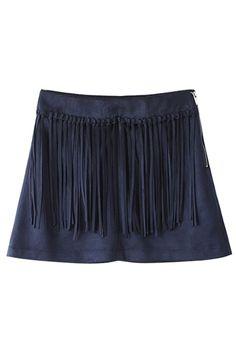 Fringed Zip Up Blue Suede Skirt