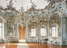 Hall of Mirrors in the Amalienburg Pavillion at Nymphenburg Palace in Munich designed by Francois de Cuvilliés the Elder in the 1730s.